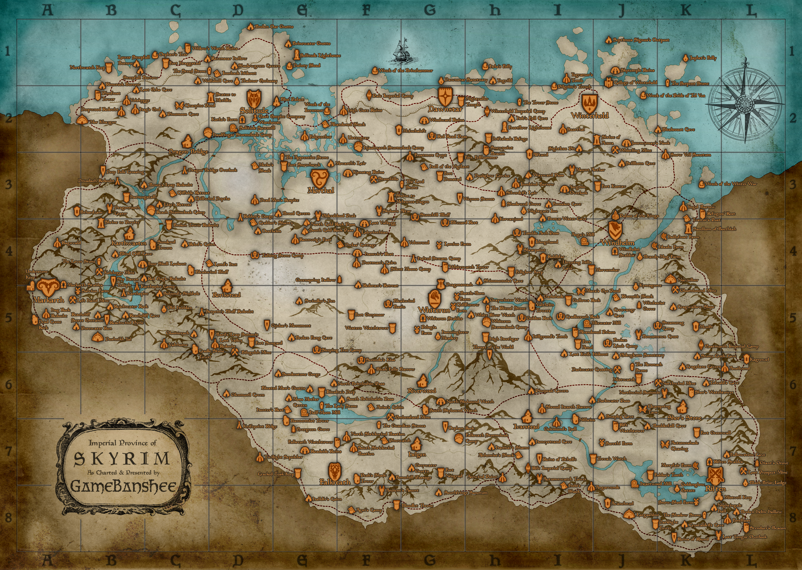 Skyrim World Map Map (Skyrim)/Locations | Elder Scrolls | FANDOM powered by Wikia Skyrim World Map